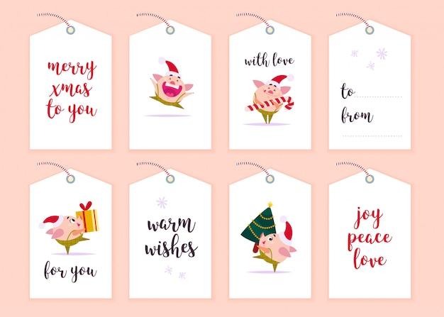 Kolekcja tagów na prezent świąteczny