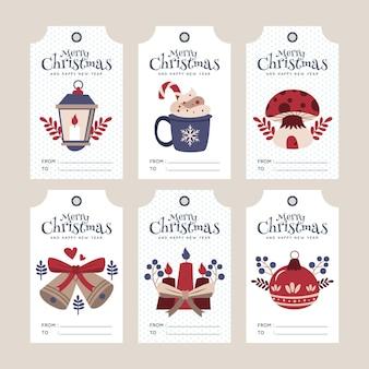 Kolekcja tagów płaskiej sprzedaży świątecznej