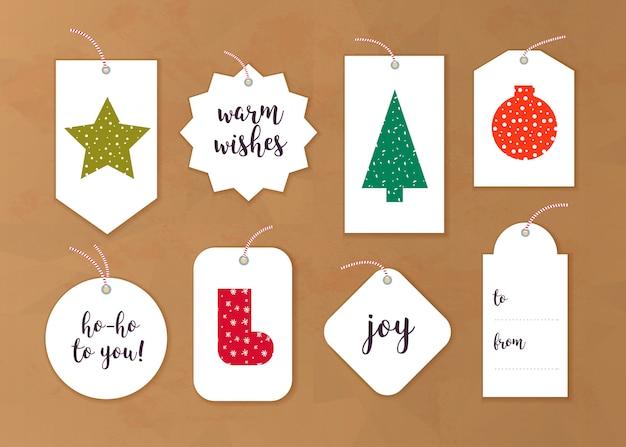 Kolekcja tagów prezent na boże narodzenie, różne kształty na białym tle