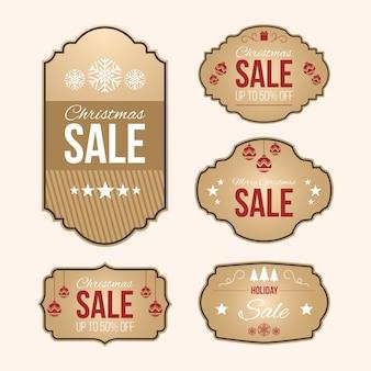 Kolekcja tagów rocznika świątecznej sprzedaży
