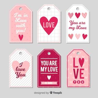 Kolekcja tagów serca z motywem walentynkowym