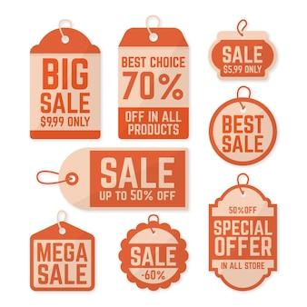 Kolekcja tagów sprzedaży vintage