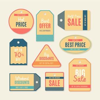 Kolekcja tagów sprzedaży w stylu vintage