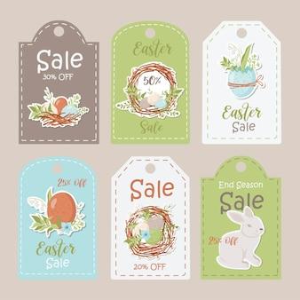 Kolekcja tagów sprzedaży wielkanocnych. szablony kart do druku.