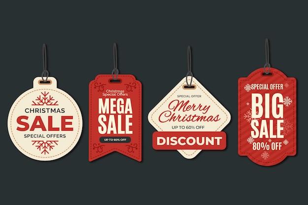Kolekcja tagów świątecznej sprzedaży w płaskiej konstrukcji