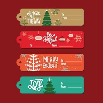 Kolekcja tagów świątecznych prezentów z cytatem