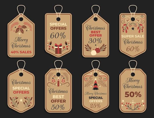 Kolekcja tagów vintage sprzedaż świąteczna