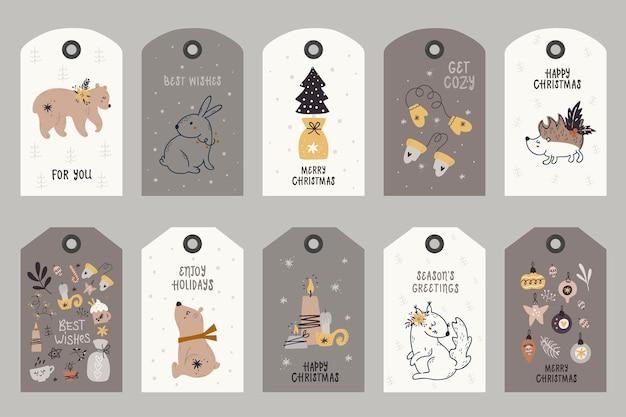 Kolekcja tagów z elementami świątecznymi.