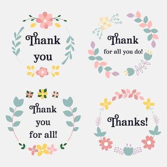 Kolekcja tagów z podziękowaniami z kwiatami