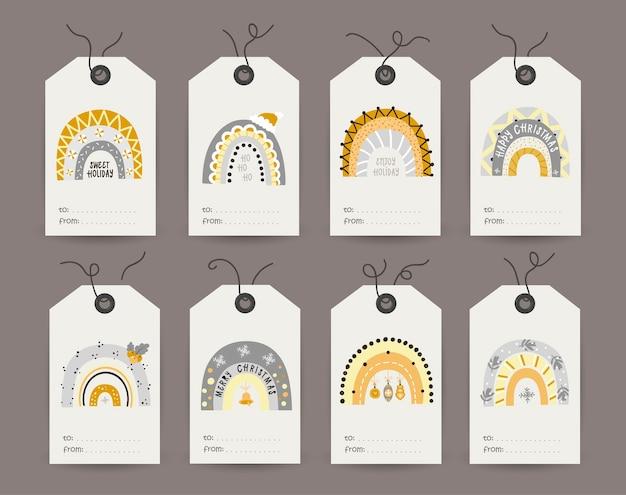Kolekcja tagów z świątecznymi błyszczącymi tęczami. szablony kart do druku.