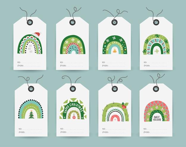 Kolekcja tagów z świątecznymi tęczami. szablony kart do druku.