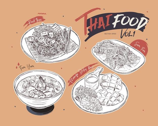 Kolekcja tajskie jedzenie, ręcznie rysować szkic.