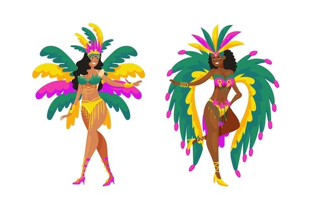 Kolekcja tancerzy brazylijskich karnawałowych kobiet