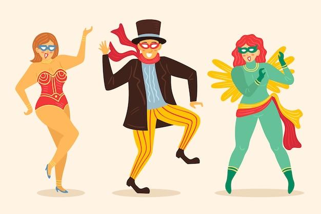 Kolekcja tancerzy karnawałowych w różnych kostiumach