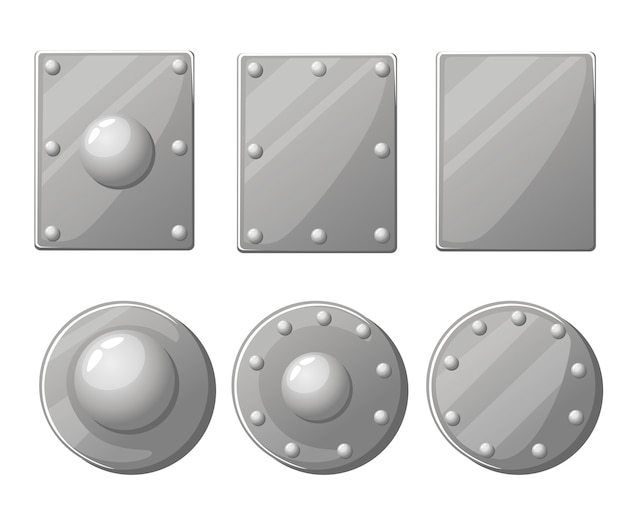 Kolekcja tarcz. metalowy średniowieczny puklerz i tarcza. ilustracja na białym tle
