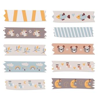 Kolekcja taśm washi dla dzieci na notatki