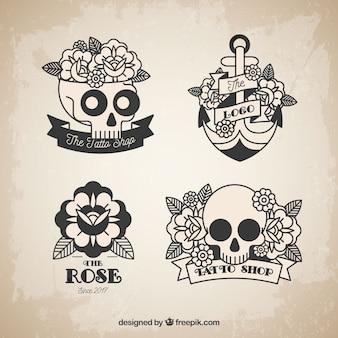 Kolekcja tatuaż czaszki i róż