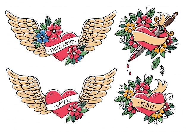 Kolekcja tatuaży serca w stylu starej szkoły. serce ze wstążką, kwiaty i słowa mama, miłość, prawdziwa miłość. tatuaż latające serce z kwiatami. serce ze sztyletem. old school slyle.retro tatuaż.