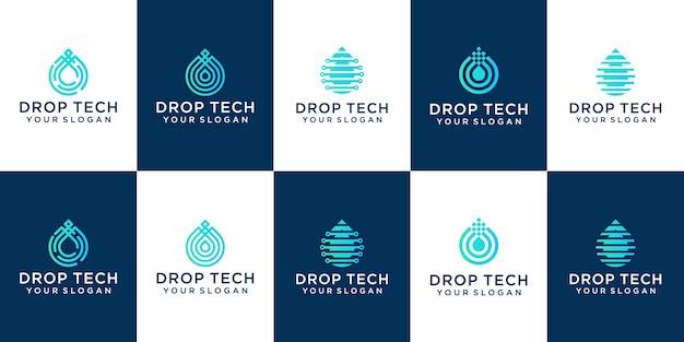 Kolekcja technologii drop w stylu grafiki liniowej