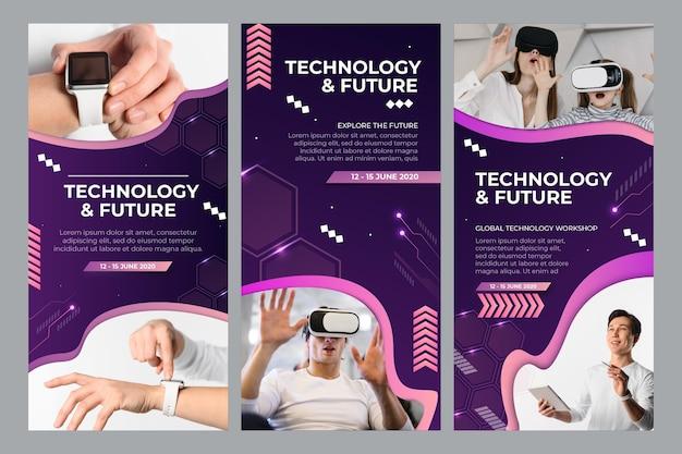 Kolekcja technologii i przyszłych historii na instagramie
