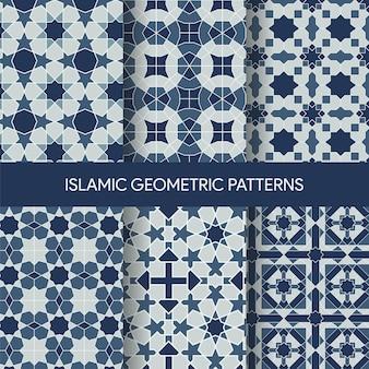 Kolekcja tekstur islamskich geometryczne wzory bez szwu