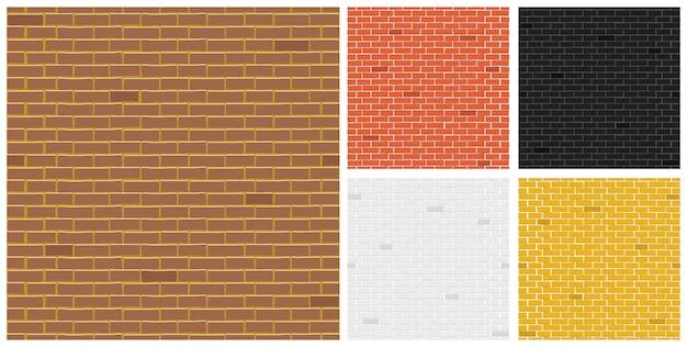 Kolekcja tekstur z cegły kolorowej.