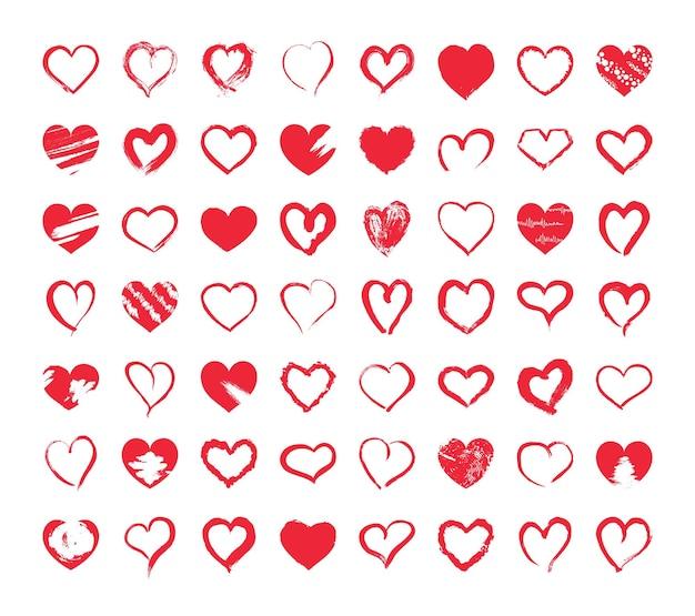 Kolekcja teksturowanych serc wektorowych