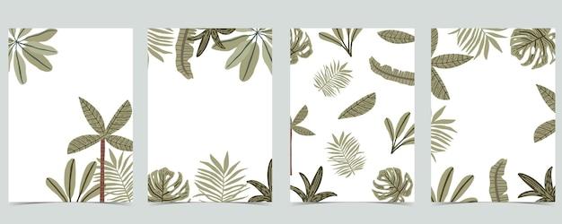 Kolekcja tła dżungli z liściem bananowca i palmą