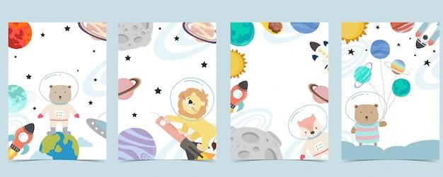 Kolekcja tła kosmicznego z astronautą, planetą, księżycem, gwiazdą, rakietą, zwierzęciem. edytowalna ilustracja dla strony internetowej, zaproszenia, pocztówki i naklejki