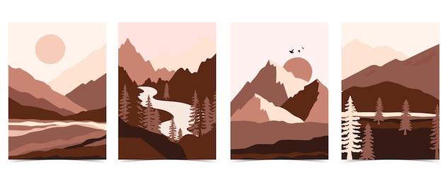 Kolekcja tła krajobrazu przyrody z góry, morze, słońce, księżyc. ilustracja wektorowa do edycji na stronie internetowej, zaproszenia, pocztówki i plakatu