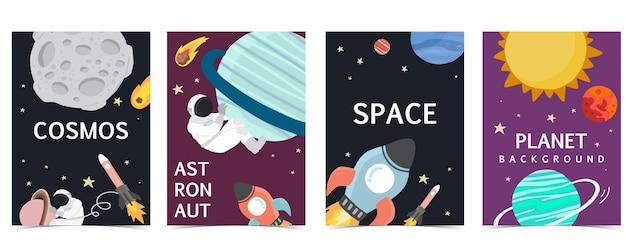 Kolekcja tła przestrzeni z astronautą, słońcem, księżycem, gwiazdą, rakietą. ilustracja wektorowa do edycji na stronie internetowej, zaproszenia, pocztówki i naklejki
