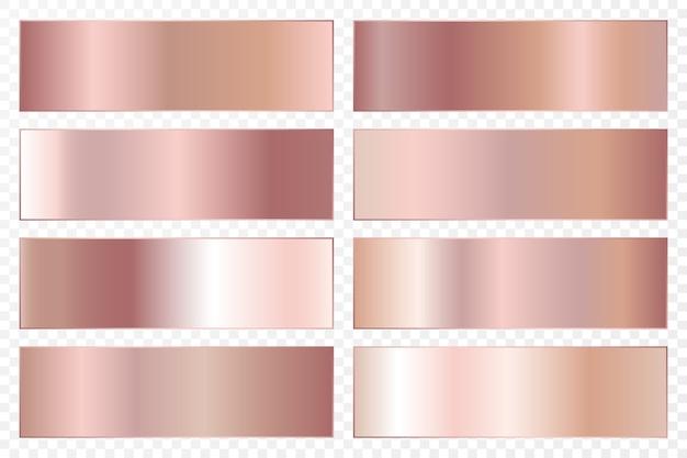 Kolekcja tła z metalicznym gradientem. błyszczące talerze z efektem różowego złota.