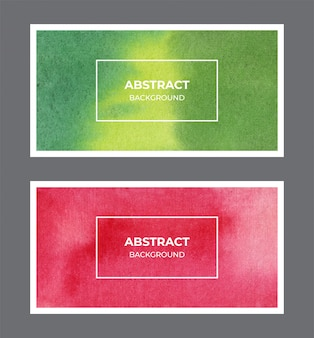 Kolekcja tła zielony i czerwony akwarela sieci web banner