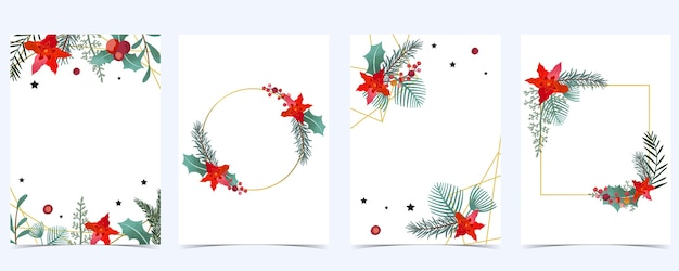 Kolekcja tło boże narodzenie z liści ostrokrzewu, kwiat, wstążka