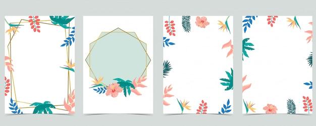 Kolekcja tło liść zestaw z kwiatem, drzewa kokosowego, hibicus. ilustracja na zaproszenie, pocztówka i logo. element edytowalny