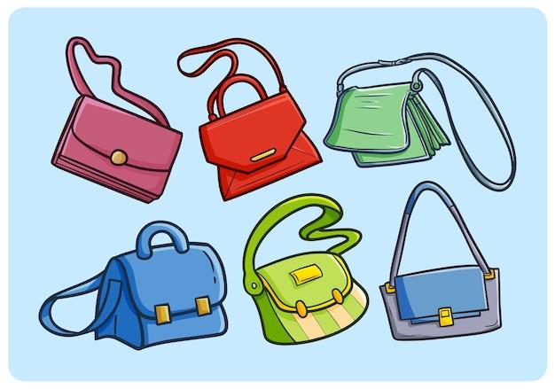 Kolekcja toreb śmieszne kobiety w prostym stylu doodle