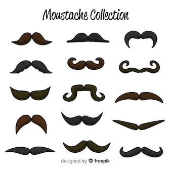 Kolekcja torebek wąsów movember w płaskiej konstrukcji