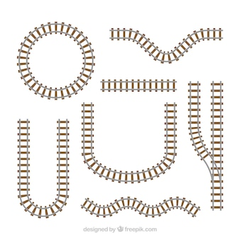 Kolekcja torów kolejowych o różnych kształtach