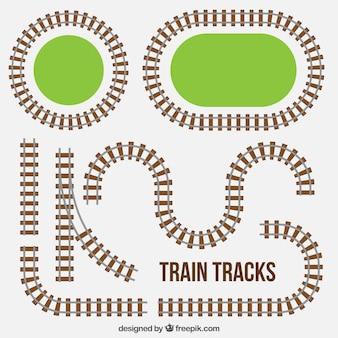 Kolekcja torów kolejowych z trawą
