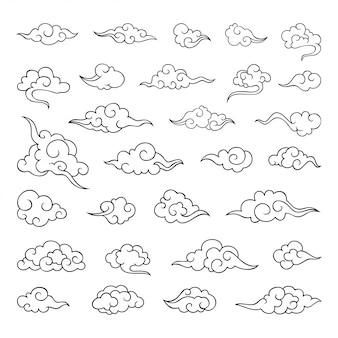 Kolekcja tradycyjnej chińskiej chmury