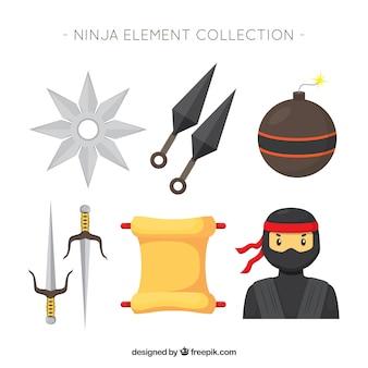 Kolekcja tradycyjnych elementów ninja z płaskiej konstrukcji