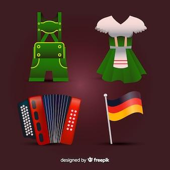 Kolekcja tradycyjnych elementów oktoberfest z realistycznym designem
