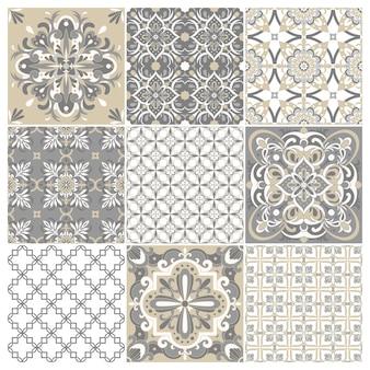 Kolekcja tradycyjnych ozdobnych portugalskich płytek azulejos. etniczny ornament ludowy.