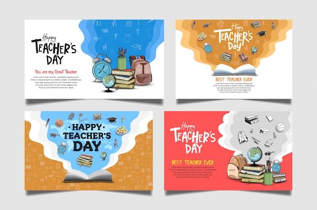Kolekcja transparent dzień szczęśliwy nauczycieli