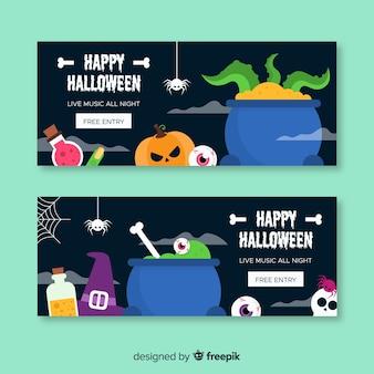 Kolekcja transparent halloween www z płaska konstrukcja
