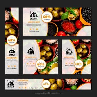 Kolekcja transparent restauracja zdrowa żywność ze zdjęciami