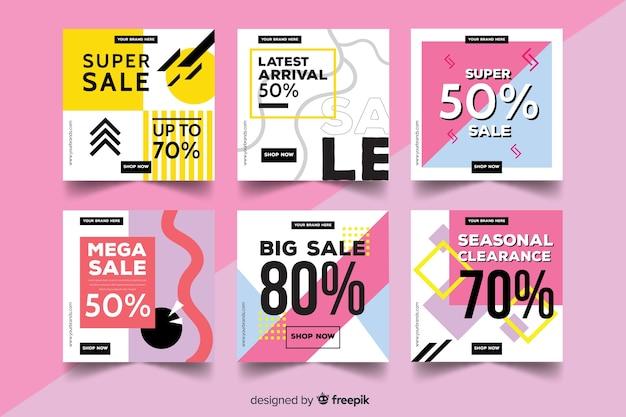 Kolekcja transparentów promocji sprzedaży w mediach społecznościowych