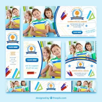 Kolekcja transparentów z powrotem do szkoły