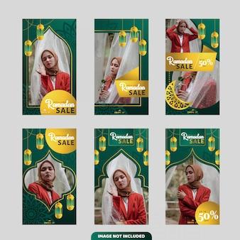 Kolekcja transparentu sprzedaży ramadan do historii lub ulotki na instagramie