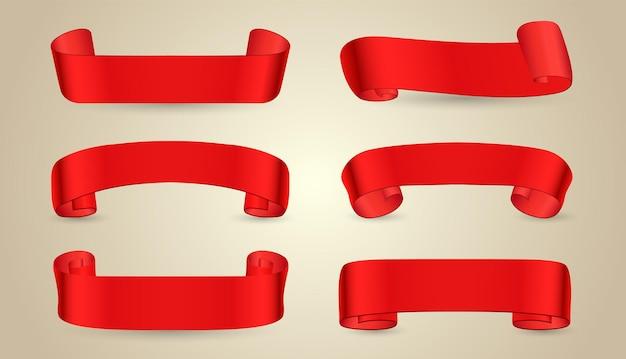 Kolekcja transparenty czerwoną wstążką
